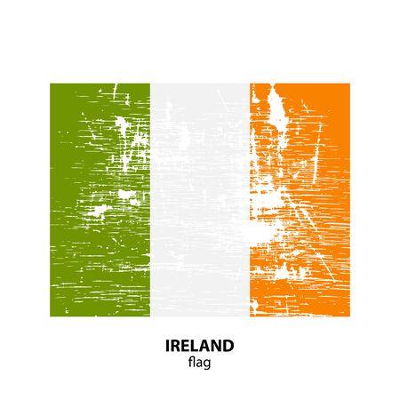northwestern: Grunge Ireland flag isolated on white background. Design element for flyers or banners.