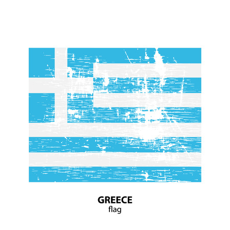 Grunge Greece flag isolated on white background. Design element for flyers or banners. Illustration