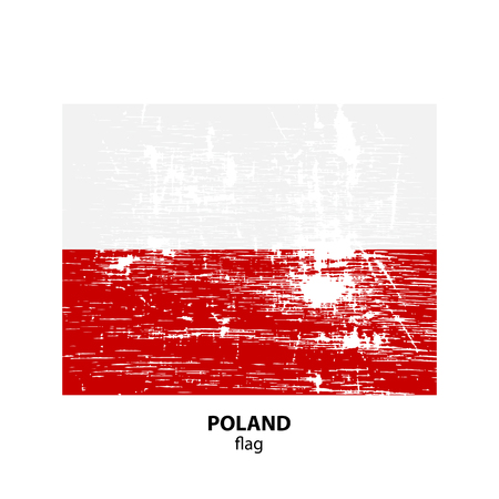 Grunge Poland flag isolated on white background. Design element for flyers or banners.