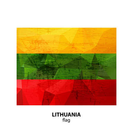 Grunge Lithuania flag isolated on white background. Design element for flyers or banners.
