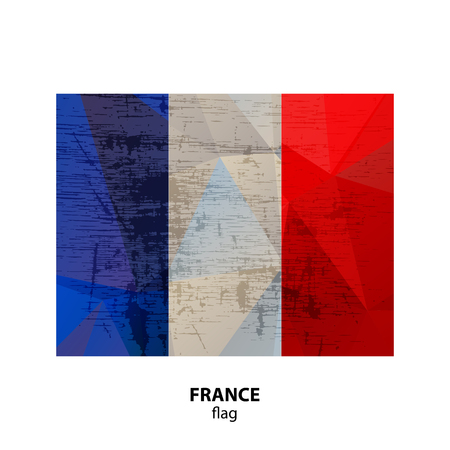Grunge France flag isolated on white background. Design element for flyers or banners.
