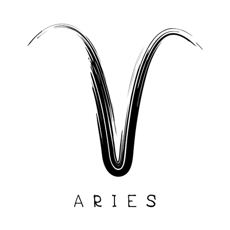 aries: Zodiac sign Aries isolated on bright polygonal background. Design element for badges and stickers.