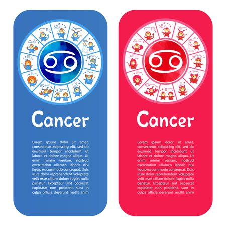 Zodiac sign Cancer. Template for banners or flyers. Blue variant for boys and pink variant for girls.