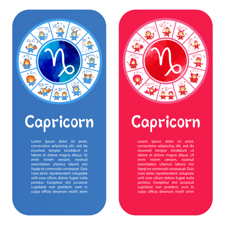 Zodiac sign Capricorn. Template for banners or flyers. Blue variant for boys and pink variant for girls. Illusztráció
