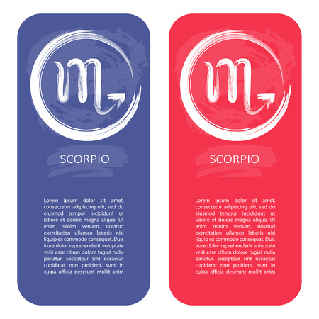 Zodiac sign Scorpio. Template for banners or flyers. Blue variant for boys and red variant for girls.