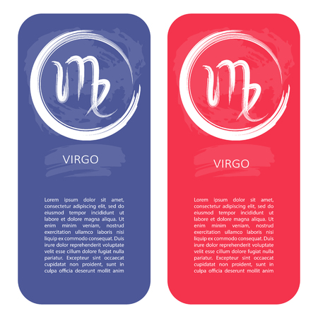 Zodiac sign Virgo. Template for banners or flyers. Blue variant for boys and red variant for girls.