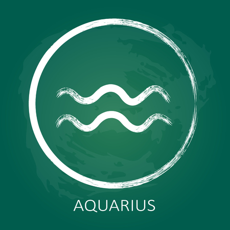 zodiac aquarius: Zodiac sign Aquarius isolated on green chalkboard background. Design element for flyers or banners.