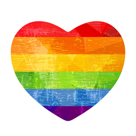 Grunge rainbow heart isolated on white background. Gay pride symbol. LGBT community symbol. Design element for Valentines cards or etc.