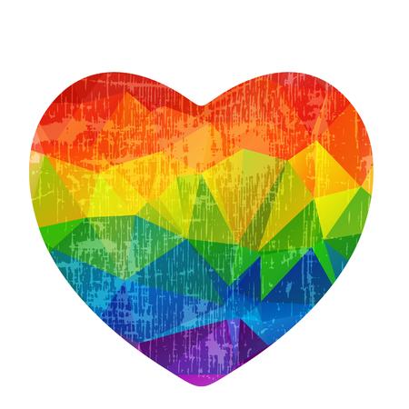그런 지 레인 보우 심장 흰색 배경에 고립입니다. 게이 프라이드 상징. LGBT 커뮤니티 심볼. 발렌타인 데이 카드 등을위한 디자인 요소