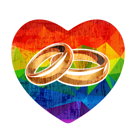Grunge rainbow heart with wedding rings isolated on white background. Gay love symbol. LGBT family symbol. Design element for flyers or banners.