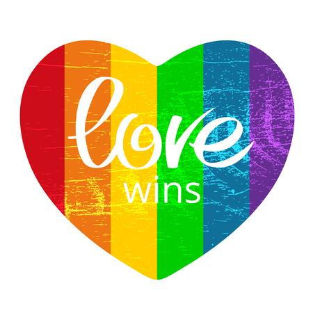 Het de regenbooghart van Grunge met Liefde wint geïsoleerd op witte achtergrond. Gay pride-symbool. LGBT-gemeenschapssymbool. Ontwerpelement voor wenskaarten of etc.