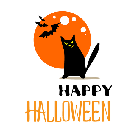 Halloween poster or greeting card with moon and black cat isolated on white background. Holiday illustration with lettering. Ilustração