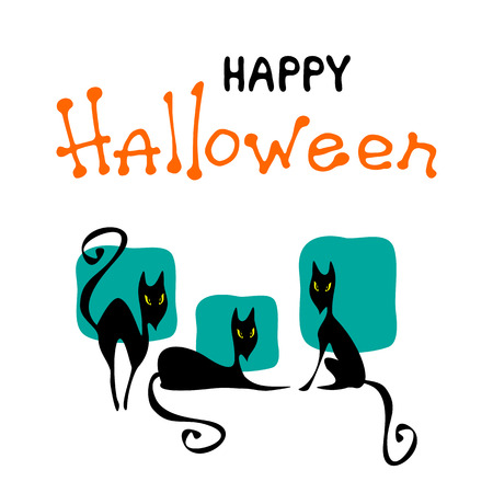 Halloween poster or greeting card with black cats isolated on white background. Holiday illustration with lettering.
