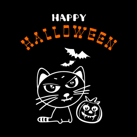 Halloween poster or greeting card with pumpkins and black cat  silhouettes isolated on black background. Holiday illustration with lettering. Иллюстрация