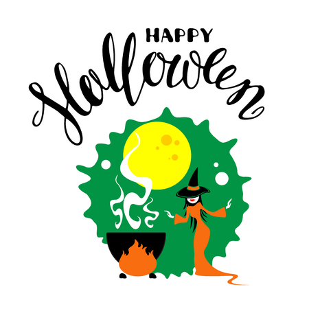 Halloween poster or greeting card with pretty witch and cauldron with potion isolated on white background. Holiday illustration with lettering.