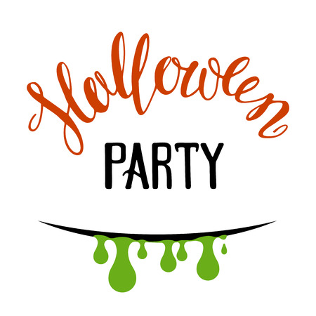 Halloween poster or greeting card with green slime and lettering isolated on white background. Holiday illustration. Illustration