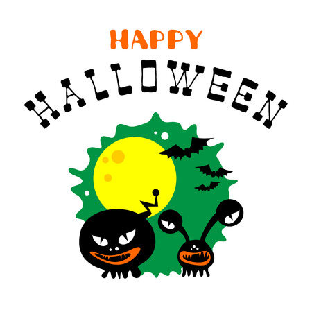 Halloween poster or greeting card with monsters and lettering isolated on white background. Holiday illustration.