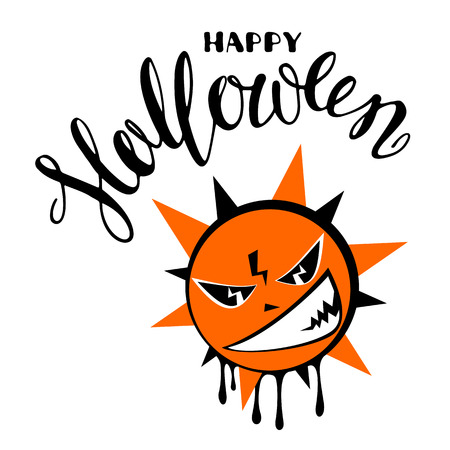 Halloween poster or greeting card with angry sun and lettering isolated on white background. Holiday illustration.