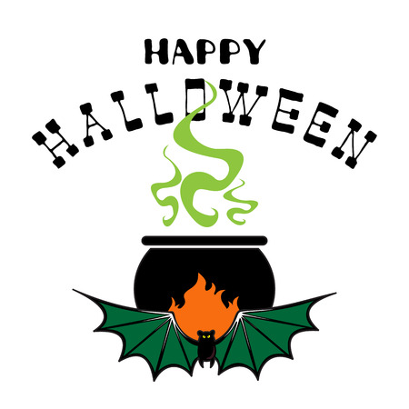 Halloween poster or greeting card with cauldron and potion isolated on white background. Holiday illustration with lettering.