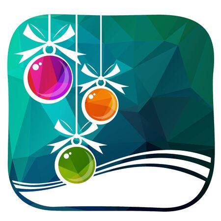 Christmas balls on winter blue polygonal background. Holiday illustration.