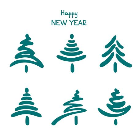 Christmas trees set on white background. Holiday illustration. Design element for greeting cards and more. Hand drawn style.