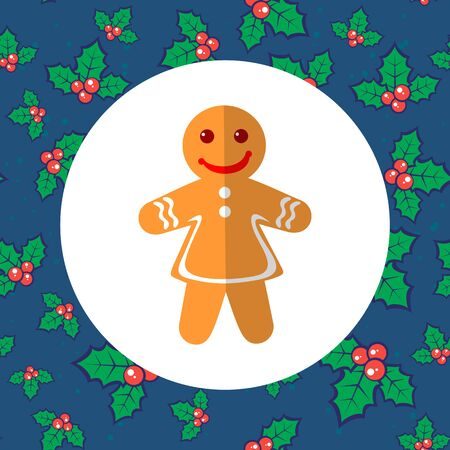Gingerbread woman on seamless Christmas background. Holiday illustration. Design element for greeting cards and more. Illustration
