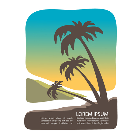 Sunset tropical island silhouette with text frame. Palm tree silhouettes. Template for post card or flyers. 向量圖像