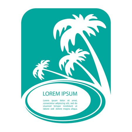 Sunset tropical island silhouette with text frame. Palm tree silhouettes. Template for post card or flyers. Çizim