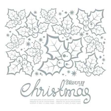 Kerstmispatroon met hulstbessen en tekstkader op witte achtergrond wordt geïsoleerd die.