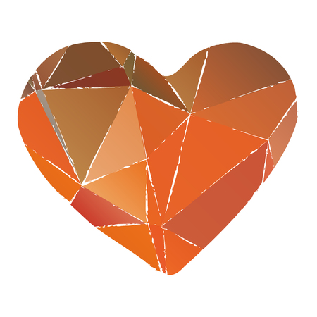 Grunge polygonal Valentines heart isolated on white background. Design element for greeting cards and holiday decorations. Valentines Day illustration. Illustration