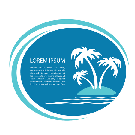 Tropical island silhouette with text frame. Palm tree silhouettes. Template for post card or flyers.