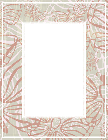 Abstract border with butterflies. Template for photo frames or images.