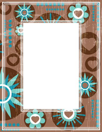 Abstract romantic border with hearts and flowers. Template for photo frames or images. Illustration