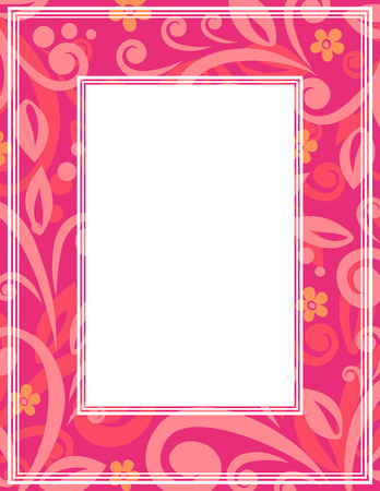 Abstract border with floral curves. Template for photo frames or images.