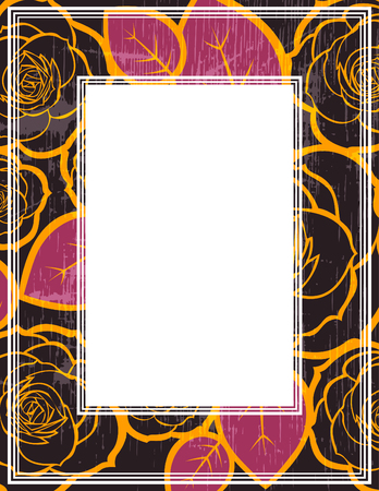 Abstract border with roses pattern. Template for photo frames or images.