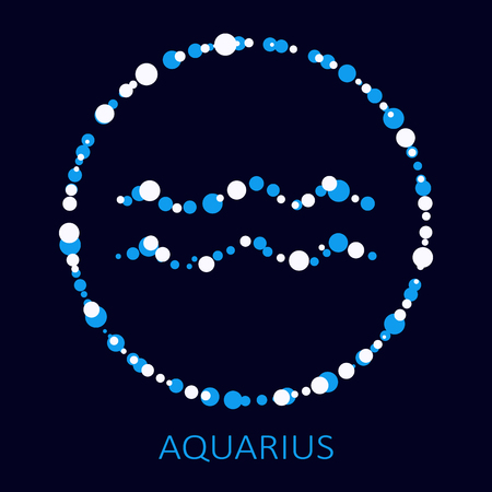 Zodiac sign Aquarius isolated on dark background. Design element for flyers or cards.