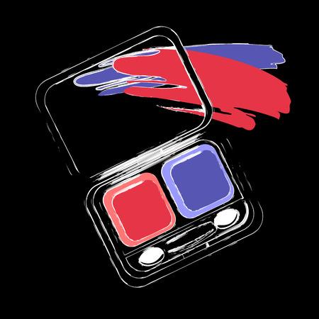 Eye shadows isolated on black background. Design element for make up and beauty presentations. Ilustração
