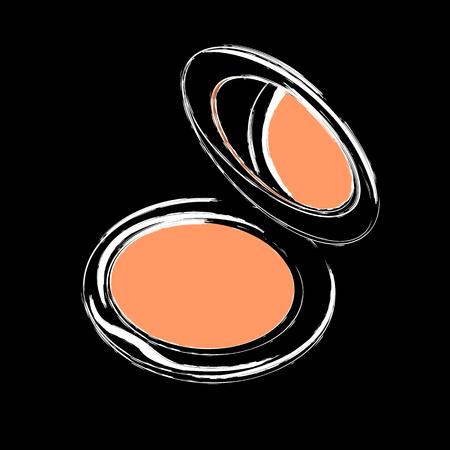 Makeup powder isolated on black background. Design element for make up and beauty presentations. Ilustração