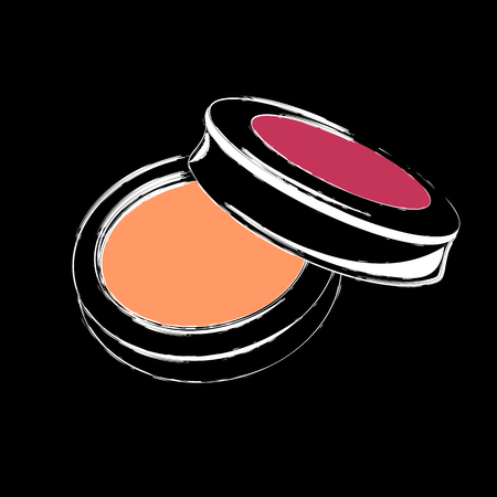 Makeup powder isolated on black background. Design element for make up and beauty presentations. Ilustrace