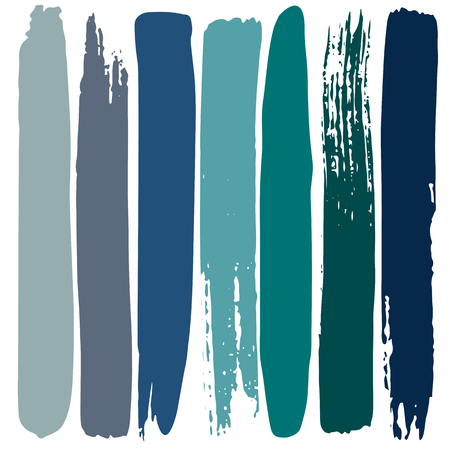 Hand drawn colorful strips set isolated on white background. Trendy colors palette.