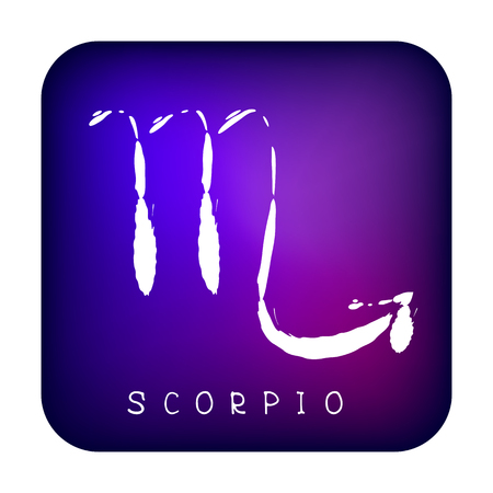 Freehand drawing zodiac sign Scorpio isolated on ultra violet background. Astrology icon. Design element for flyers or greeting cards. Grunge style.