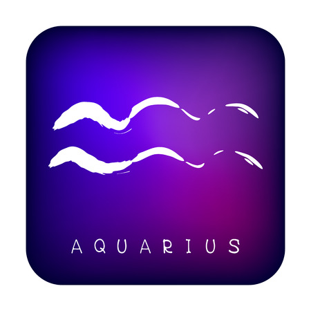 Freehand drawing zodiac sign Aquarius isolated on ultra violet background. Astrology icon. Design element for flyers or greeting cards. Grunge style.
