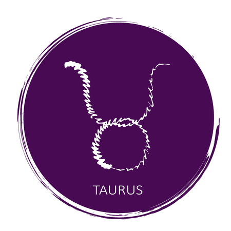 Freehand drawing zodiac sign Taurus isolated on ultra violet background. Astrology icon. Design element for flyers or greeting cards. Grunge style.
