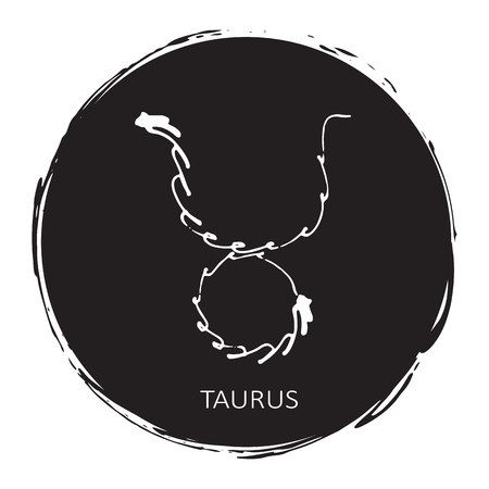 Circle frame with zodiac sign Taurus isolated on white background. Design element for posters, stickers or greeting cards. Illustration