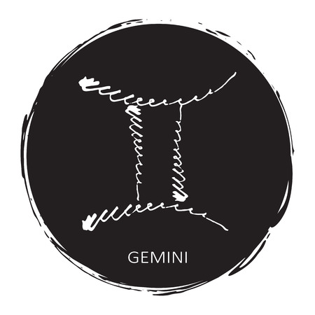 Circle frame with zodiac sign Gemini isolated on white background. Design element for posters, stickers or greeting cards.
