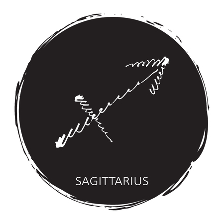 Circle frame with zodiac sign Sagittarius isolated on white background. Design element for posters, stickers or greeting cards.