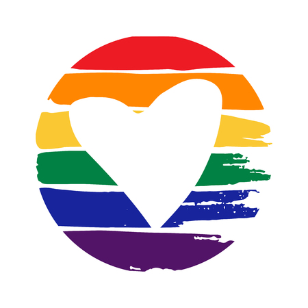 Grunge heart frame on rainbow background. Gay pride symbol. LGBT community symbol. Design element for Valentines cards or etc.