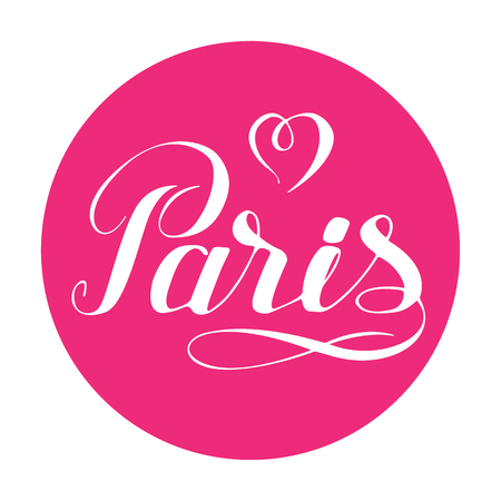 Paris hand drawn lettering with heart isolated on white background. Design element for greeting cards, creative projects or printed products. Romantic illustration.