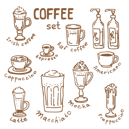 Set of doodle hand drawn sketches, kinds of coffee, ingredients and devices for coffee making, isolated on white background. Design elements for cafe menu, fliers and chalkboards.