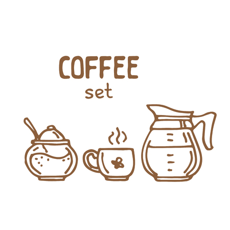 Set of doodle hand drawn sketches, ingredients and devices for coffee making isolated on white background. Design elements for cafe menu, fliers and chalkboards. Illustration